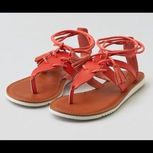 American Eagle Coral lace up sandals